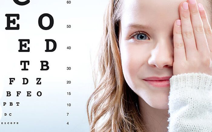 a lady having a eye testing